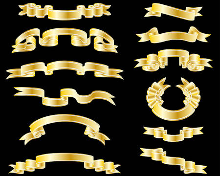 Set of different vector ribbons for design use Vector
