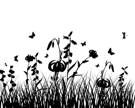 Vector grass silhouettes background. All objects are separated. Stock Vector - 6282356