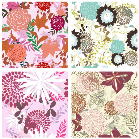 Seamless vector floral backgrounds set. For easy making seamless pattern just drag all group into swatches bar, and use it for filling any contours. Stock Vector - 6312521