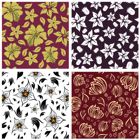filling: Seamless vector floral backgrounds set. For easy making seamless pattern just drag all group into swatches bar, and use it for filling any contours.