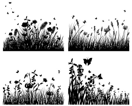 Vector grass silhouettes backgrounds set. All objects are separated. Stock Vector - 6312513