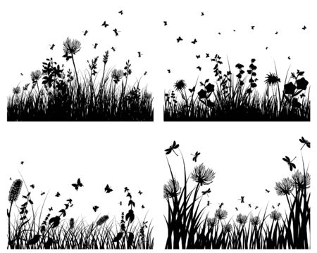 Vector grass silhouettes backgrounds set. All objects are separated. Stock Vector - 6312516