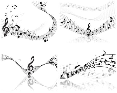 dj music: Vector musical notes staff backgrounds set for design use Illustration