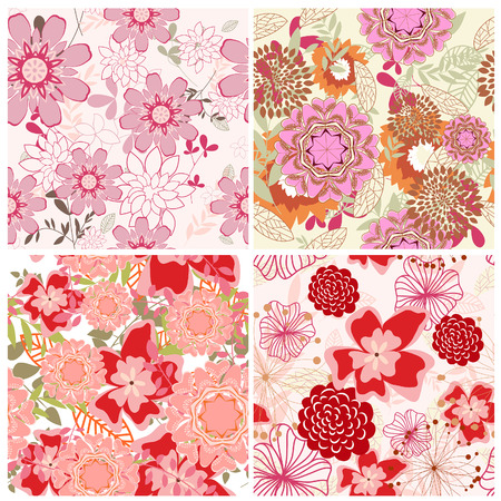 Seamless vector floral backgrounds set. For easy making seamless pattern just drag all group into swatches bar, and use it for filling any contours. Stock Vector - 6330068