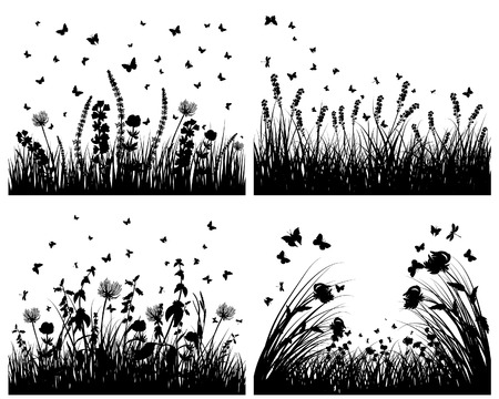 Vector grass silhouettes backgrounds set. All objects are separated. Stock Vector - 6330062