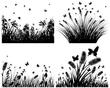 Vector grass silhouettes backgrounds set. All objects are separated. Stock Vector - 6330072