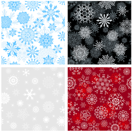 blizzards: Seamless snowflakes backgrounds set  for winter and christmas theme