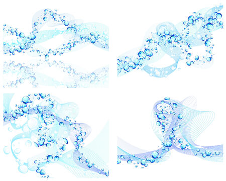 Abstract water vector backgrounds set with bubbles of air Stock Vector - 6330093