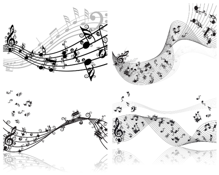 Vector musical notes staff backgrounds set for design use Stock Vector - 6330063