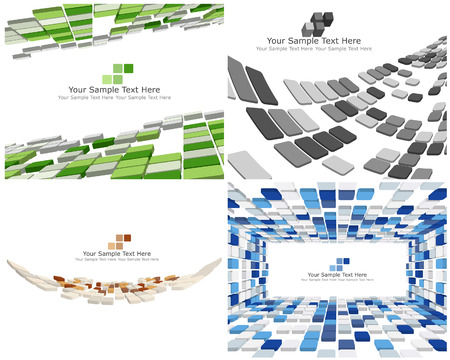 square shape: Abstract 3d checked  business background for use in web design Illustration