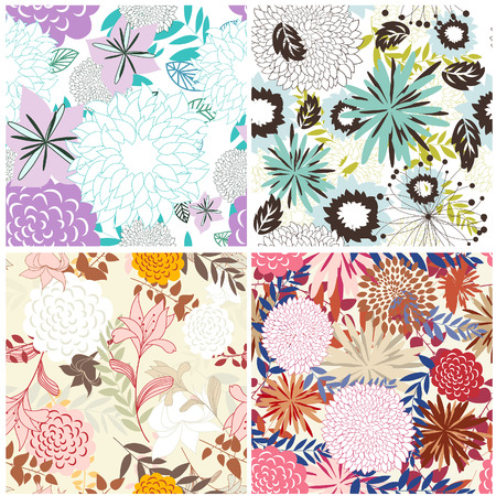 swatches: Seamless vector floral backgrounds set. For easy making seamless pattern just drag all group into swatches bar, and use it for filling any contours.