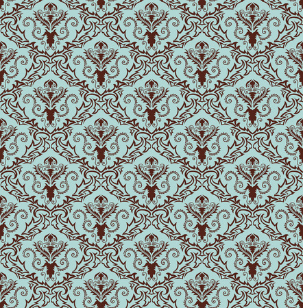 it background: Damask seamless vector background.  For easy making seamless pattern just drag all group into swatches bar, and use it for filling any contours. Illustration