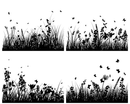 Vector grass silhouettes backgrounds set. All objects are separated. Stock Vector - 6333954