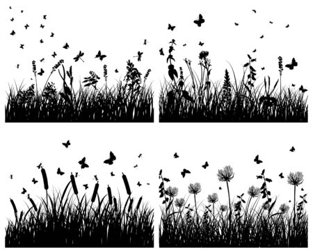 Vector grass silhouettes backgrounds set. All objects are separated. Stock Vector - 6333955