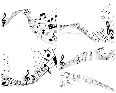 Vector musical notes staff backgrounds set for design use Stock Vector - 6333942