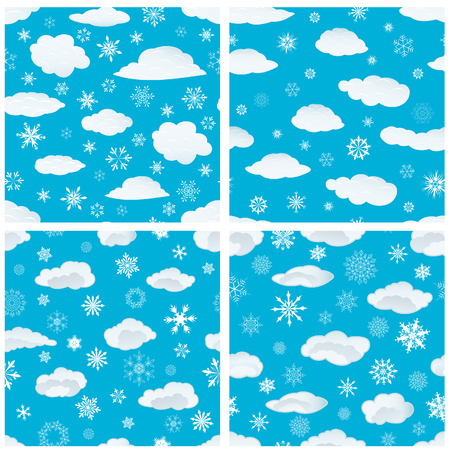 Seamless snowflakes backgrounds set  for winter and christmas theme Stock Vector - 6334041