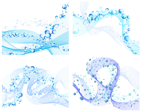 Abstract water vector backgrounds set with bubbles of air Vector