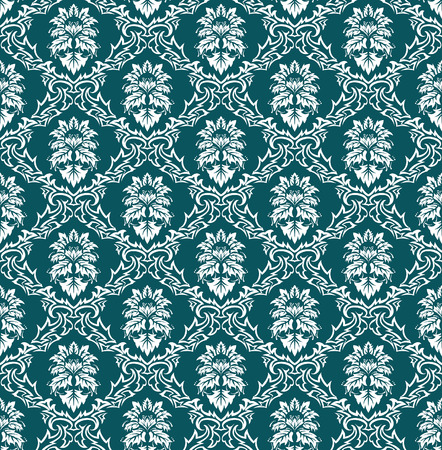 Damask seamless vector background.  For easy making seamless pattern just drag all group into swatches bar, and use it for filling any contours. Stock Vector - 6334010
