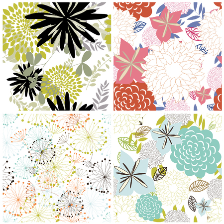 Seamless vector floral backgrounds set. For easy making seamless pattern just drag all group into swatches bar, and use it for filling any contours. Stock Vector - 6334044