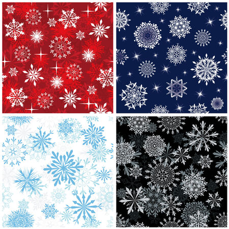 Seamless snowflakes backgrounds set  for winter and christmas theme Vector