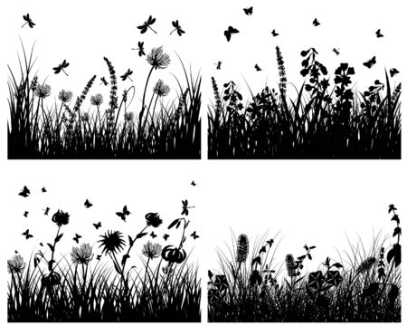 Vector grass silhouettes backgrounds set. All objects are separated. Stock Vector - 6334005