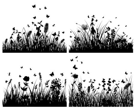 crecimiento planta: Conjunto de fondos de siluetas de hierba del vector. Todos los objetos est�n separados. Vectores