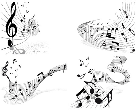 Vector musical notes staff backgrounds set for design use Stock Vector - 6333950