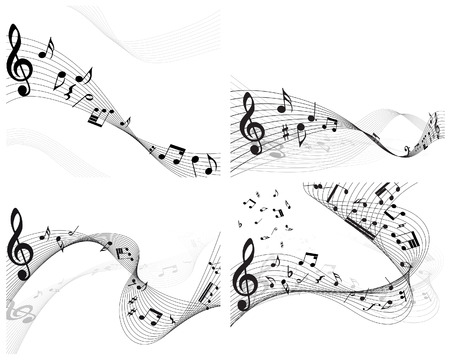 Vector musical notes staff backgrounds set for design use Stock Vector - 6333946