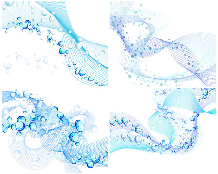 bubbles vector: Abstract water vector backgrounds set with bubbles of air