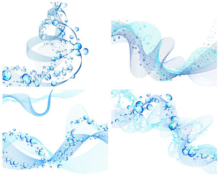 gradients: Abstract water vector backgrounds set with bubbles of air