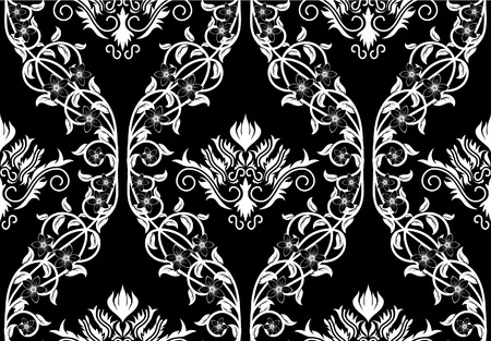 Damask seamless vector background.  For easy making seamless pattern just drag all group into swatches bar, and use it for filling any contours. Vector