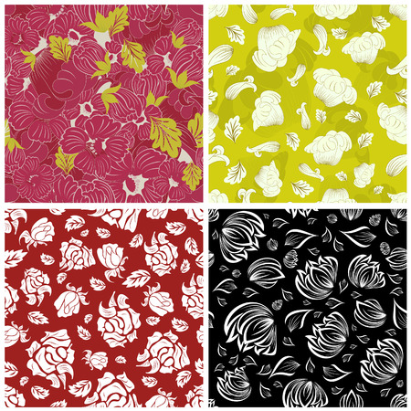 Seamless vector floral backgrounds set. For easy making seamless pattern just drag all group into swatches bar, and use it for filling any contours. Stock Vector - 6344249
