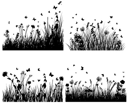 Vector grass silhouettes backgrounds set. All objects are separated. Stock Vector - 6344242