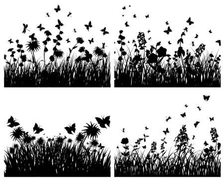 Vector grass silhouettes backgrounds set. All objects are separated. Stock Vector - 6344239