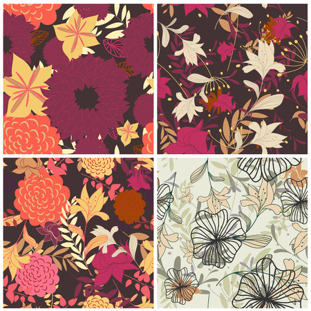 Seamless vector floral backgrounds set. For easy making seamless pattern just drag all group into swatches bar, and use it for filling any contours. Stock Vector - 6395820