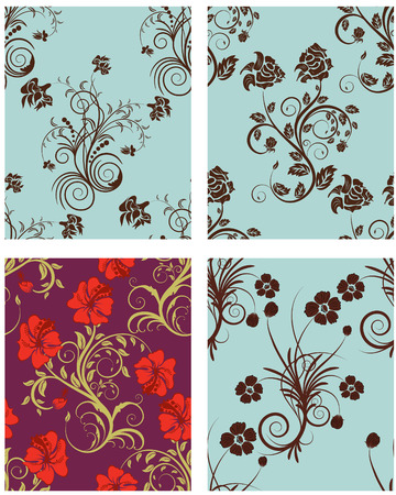 Seamless vector floral backgrounds set. For easy making seamless pattern just drag all group into swatches bar, and use it for filling any contours. Stock Vector - 6395818