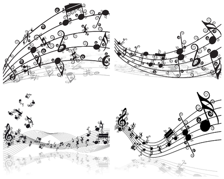 conceptual symbol: Vector musical notes staff backgrounds set for design use Illustration