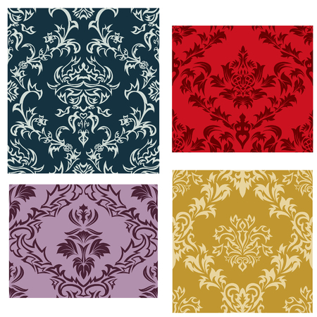Damask seamless vector backgrounds set.  For easy making seamless pattern just drag all group into swatches bar, and use it for filling any contours. Stock Vector - 6416767