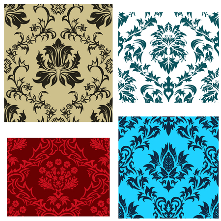 Damask seamless vector backgrounds set.  For easy making seamless pattern just drag all group into swatches bar, and use it for filling any contours. Vector