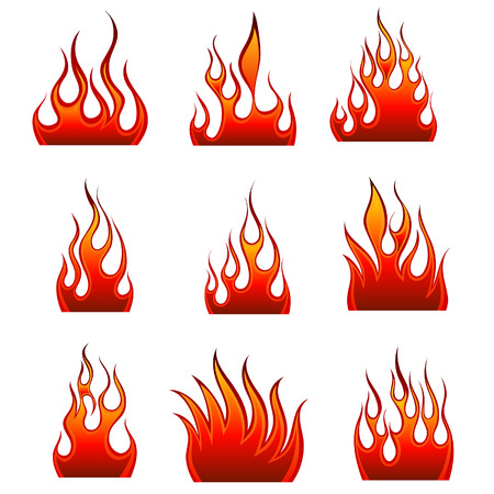 blazes: Set of fire vector icons for design use Illustration