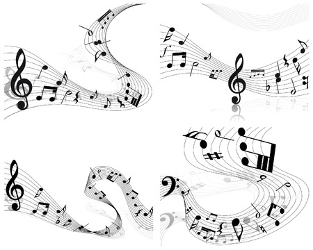 trill: Vector musical notes staff backgrounds set for design use Illustration