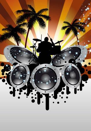 Rock group drummer. Vector illustration for design use. Vector
