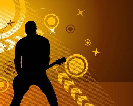 Rock group guitarist. Vector illustration for design use. Vector