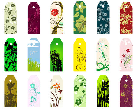 Set of  different vector floral  bookmarks for design use Stock Vector - 6429984