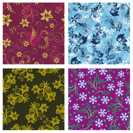 Seamless vector floral backgrounds set. For easy making seamless pattern just drag all group into swatches bar, and use it for filling any contours. Stock Vector - 6429986