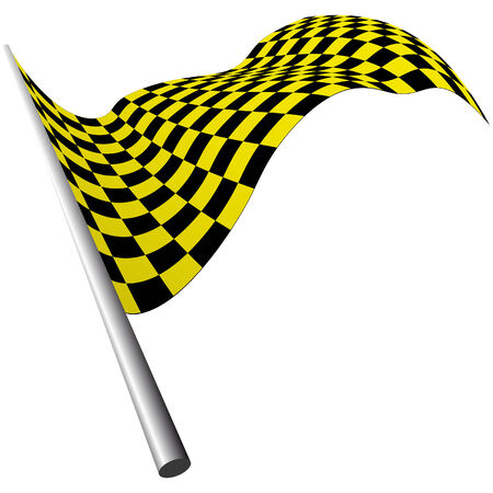 checked flag: Yellow and black checked racing flag. Vector illustration.