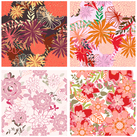 Seamless floral backgrounds set. For easy making seamless pattern just drag all group into swatches bar, and use it for filling any contours. Stock Vector - 6460443