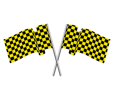 Yellow and black checked racing flag. Stock Vector - 6460445