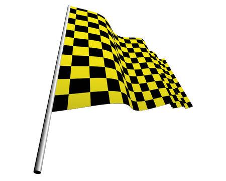 Yellow and black checked racing flag. Stock Vector - 6460450