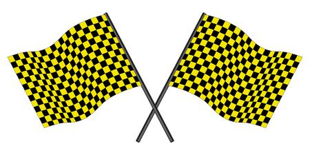 Yellow and black checked racing flag. Stock Vector - 6460446